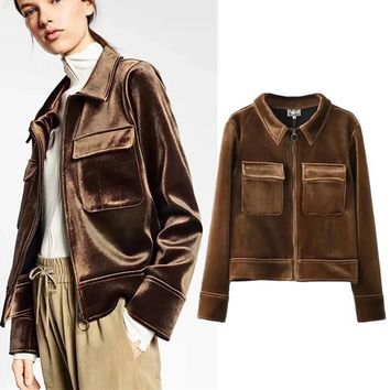 Women's Fashion Winter Brown Velet Coat [185227968537]