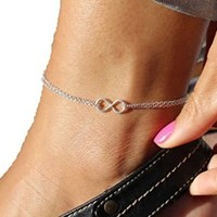 Women's Fashion Antique Vintage 8 Letter and Love Infinity Pendant Foot Jewelry
