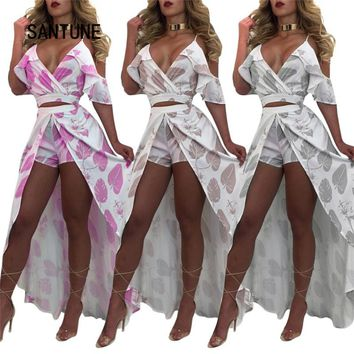 Santune Fashion Print Deep V Women's Tracksuits 2017 Crop Top And Long Skirt Two Piece Set Summer Suit Women 2 Piece Set