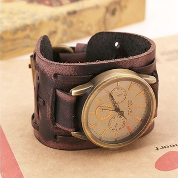 Hot Sale/New Arrival: Traditional Vintage/Fashion/Punk/Retro Classical Shape Handmade Leather Bracelet Watch/Wristwatch Nice Gifts, Souvenirs, Decoration [8833436876]