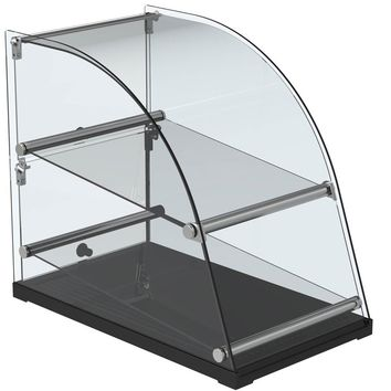 """Curved Glass Extra Deep Countertop Dry Display Case 22"""""""