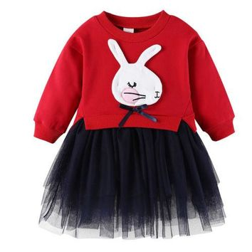 New Toddler Baby Girls Long Sleeve Knitted Bow Newborn Tutu Princess Dress 0-5T