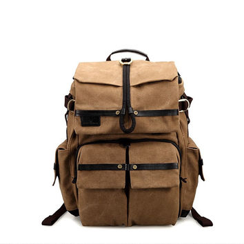 Laptop Backpack DSLR Camera Safari Bag Shoulders Canvas Ipad Bag Travel Backpack 1231