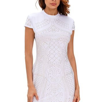 Chicloth White Gold Studded Short Sleeves Dress