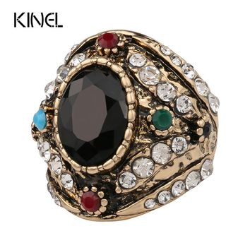 Hot 2016 From India Bohemia Big Ring Color Ancient Gold Vintage Jewelry Mosaic Black Resin White Crystal Lord Rings