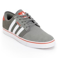 adidas Seeley Mid Cinder, Running White, & Red Skate Shoes