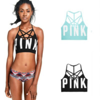 Victoria Pink New fashion women sports yoga bra letter print top t-shirt two color