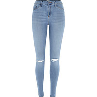 River Island Womens Pretty light blue ripped knee Molly jeggings