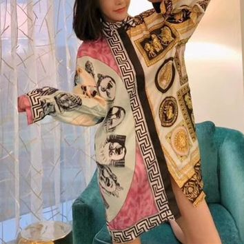 """Versace"" Temperament Fashion Retro Multicolor Pattern Print Long Sleeve Lapel Shirt Middle Long Section Cardigan Dress"