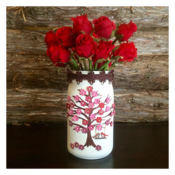 Rustic Mason Jar Vase, Bridal Shower Decor, Flowering Tree Vase, Birds on Swing Vase, Shabby Chic Vase, Hand painted tree vase,  Ivory Mason Jar Vase
