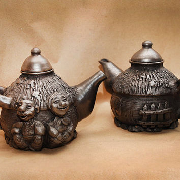 Ceramics. Teapot. Handmade Tea Kettle. Unique Housewarming Gift Ideas. Black Clay. Rustic Ethnic Cozy Pots By Three Snails. Free Shipping