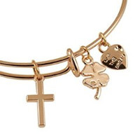 Expandable Bangle Bracelet Cross Charm Rose Gold Plate