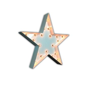 One Foot Small Star Vintage Marquee Sign (White Finish)