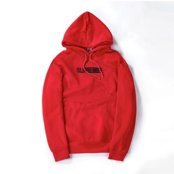 Supreme autumn and winter tide brand men and women lovers new Phantom sweater coat jacket plus flannel Red
