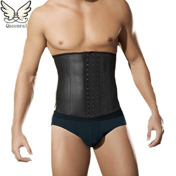male slim belt waist trainer corsets for men Compression Garment waist trainer latex waist cincher body belt slimming men