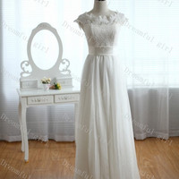 Jewel spring new wedding dress with lace top and sash