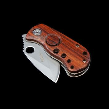 Red Wood Mini Safety Lock Folding Blade