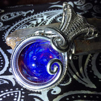 Wire Wrapped Glass Implosion Marble Pendant