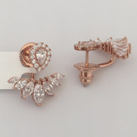 Marquise and Pear Cubic Zirconia Earrings Jacket (14K Rose Gold)