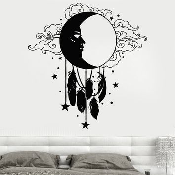 Vinyl Wall Decal Moon Face Feather Dreamcatcher Stickers Unique Gift (1578ig)