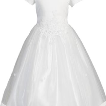 (Sale) Girls Plus Size 20x Cut Work Lace Girls Satin Communion Dress w. Tulle Skirt
