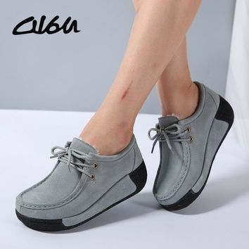 O16U Women Flats Platform Shoes Suede Leather Lace up women Moccasins Creepers slipony