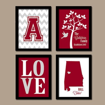 University of Alabama College BAMA Roll Tide Custom Family Monogram Initial State LOVE Bird Tree Wedding Date Set of 4 Prints Wall Decor ART