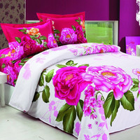 Le Vele Full/Queen Bed Modern Bedding Floral Duvet Cover Set