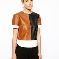 ASOS T-Shirt in Color Block Leather - Multi