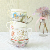 Vintage Mismatched Shabby Tea Party Child Size Tea Cups, Set of 5, Demitasse, Craft Projects, Wedding, Bridesmaid Gifts