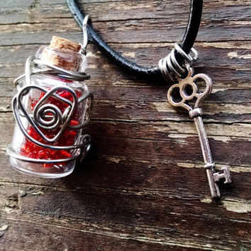 Mini Clear Bottle w/Red Beads and Silver Heart Wire Art and Key! Great Necklace, Rear View Mirror Charm, Wine Bottle Charm, Valentine Gift