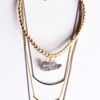 Geo 3 Strands Suede Necklace