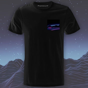 Neon Highway Black Pocket Tee