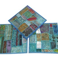 Set Of 3 Blue Indian Handmade Pillow Case Vintage Patchwork Square Cushion Cover