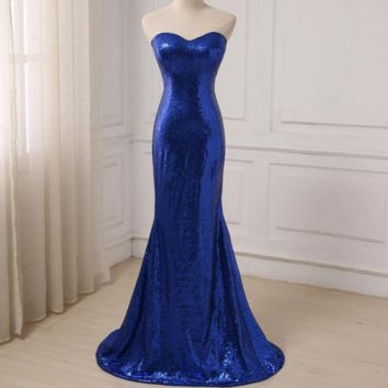 Royal Blue Sequined Evening Dresses New Arrival Mermaid Long Party Gown Back Lace-up