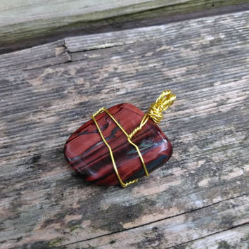 Handmade Red Tiger's Eye Polished Crystal Pendant - Crystal Jewelry Supplies - Wire Wrapped Crystal - Gold Wire - Boho - Hippie - #348