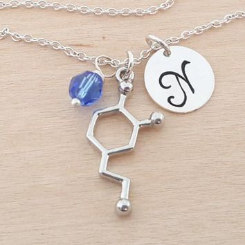 Dopamine Charm Swarovski Birthstone Initial Personalized Sterling Silver Necklace / Gift for Her - Dopamine Necklace - Chemical Compound