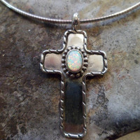 Authentic Navajo,Native American,Southwestern sterling silver,vintage-traditional style,white opal crucifix cross pendant/necklace