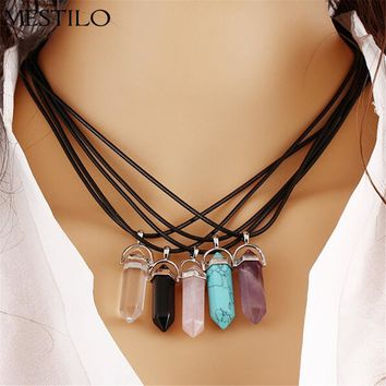 NEW Natural Stone Opal Pendant For Women Bullet Shape Necklace Faux Stone Crystal Choker Necklaces Gem Stone Vintage Rope