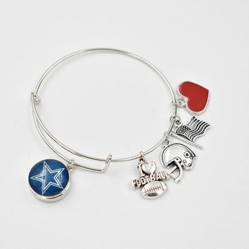 16 Style Football Team 18MM Snap Button Dangle Charms Bracelet With Silver Dangle Red Heart Adjustable Bracelet &Bangle