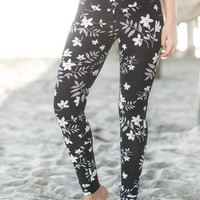 Tori Active Black Floral Leggings