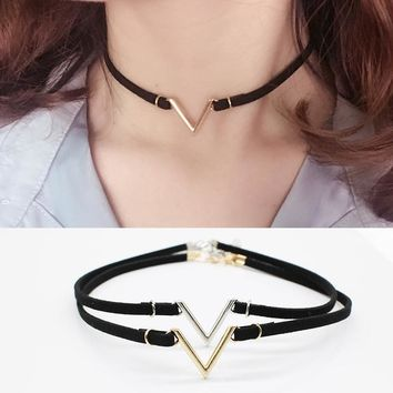 Choker - V Letter Choker Necklaces