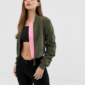 Noisy May cropped bomber jacket at asos.com