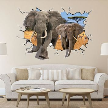 8006 Hot Selling Delicate African Animal Removable 3D Dual Elephant Wall Sticker Home Kid Room Art Decal Mural Decor 70*100cm