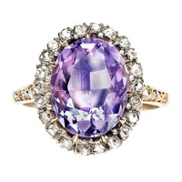 Amethyst & Diamond Victorian Engagement Ring