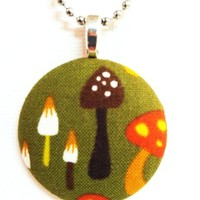 The Mellow Mushroom Fabric Button Necklace from Kute As a Button Shop