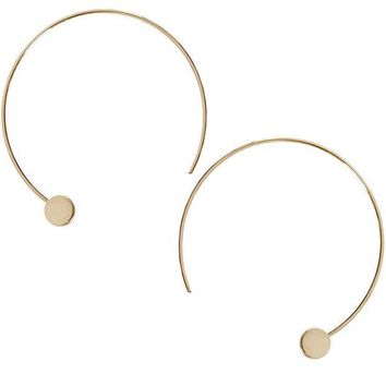 CREYV2S Humble Chic Disc Hoops - Modern Upside Down Curved Open Circle Threader Earrings
