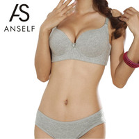 ANSELF New Sexy Women C Cup Push Up Bra 3/4 Light Padded V-Neck Seamless Underwire Lingerie Underwear Sutian Intimates Blue Grey