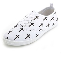 CROSS PRINT LACE-UP SNEAKER