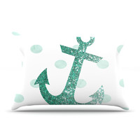 "Nika Martinez ""Glitter Anchor in Mint"" Teal Pillow Case"